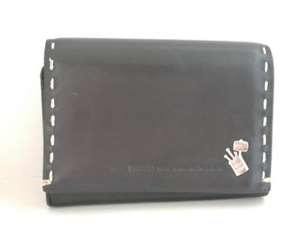 PELLE BORSA(ペレボルサ) 2つ折り財布 黒 レザー