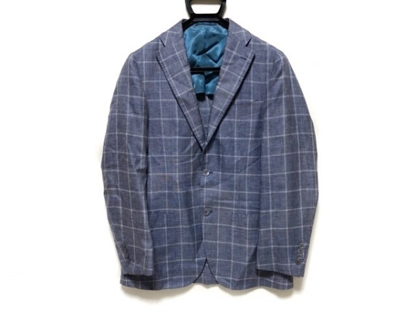 BRILLA(ブリラ) ジャケット サイズ48 XL メンズ ネイビー×白 チェック柄