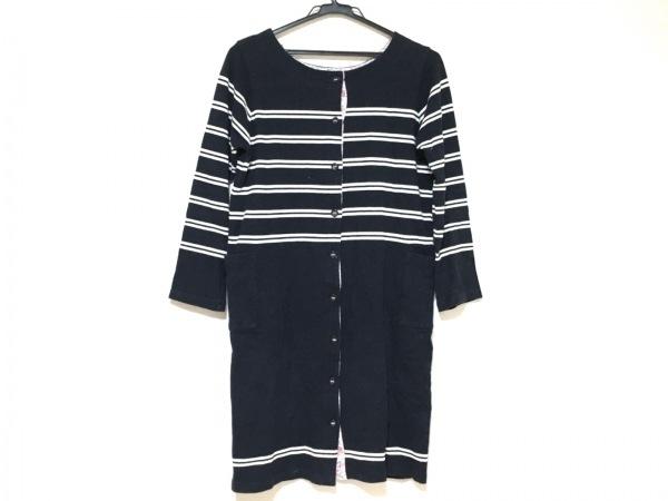 アフタヌーンティー コート サイズM レディース美品  黒×白 春・秋物/ボーダー