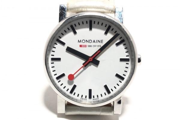 MONDAINE(モンディーン) 腕時計 - ボーイズ 革ベルト/型押し加工 白