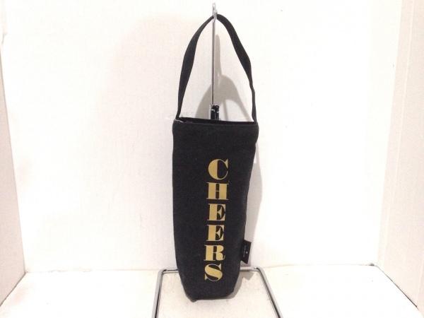 ケイトスペード トートバッグ チアーズ ワイン トート 黒×ゴールド キャンバス