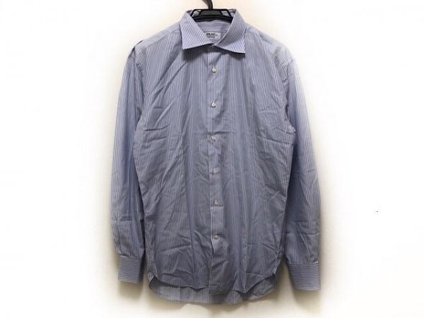 FRAY(フレイ) 長袖シャツ メンズ 白×ライトブルー×ダークブラウン