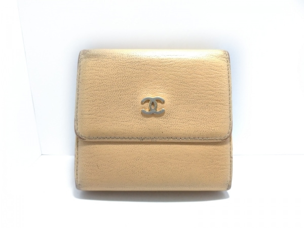 CHANEL(シャネル) Wホック財布 - ベージュ ココマーク レザー
