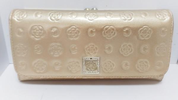 CLATHAS(クレイサス) 長財布 ゴールド 型押し加工/ラインストーン エナメル(合皮)