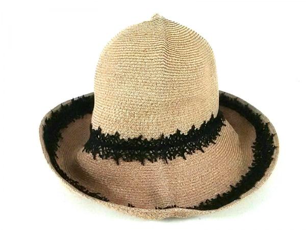 Athena(アシーナ) 帽子 ナチュラル×黒 指定外繊維(紙)×コットン