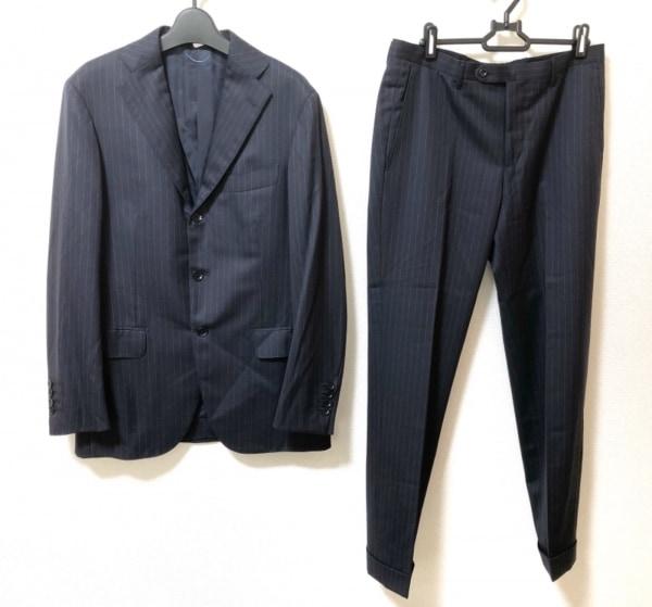 リングジャケット シングルスーツ サイズ44 L メンズ美品  ダークネイビー×グレー