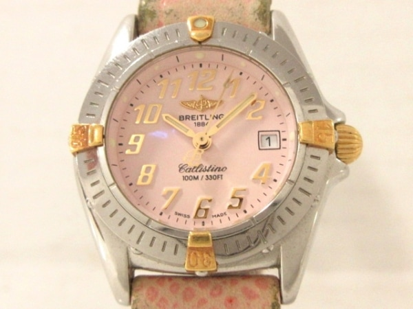 ブライトリング 腕時計 カリスティーノ B52045 レディース 革ベルト ピンク