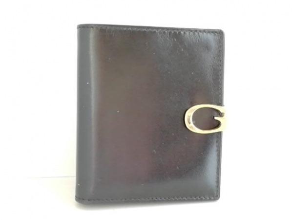 GUCCI(グッチ) 2つ折り財布 - - 黒×ゴールド レザー×金属素材