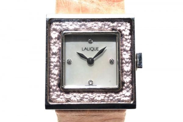 ラリック 腕時計 - レディース 革ベルト/シェル文字盤/型押し加工 ホワイトシェル