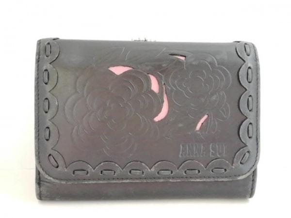 ANNA SUI(アナスイ) 3つ折り財布 黒 がま口 レザー