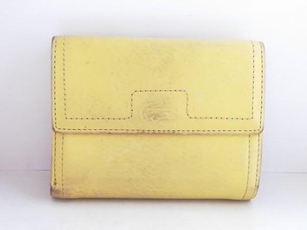 Lacoste(ラコステ) 3つ折り財布 イエロー がま口 レザー