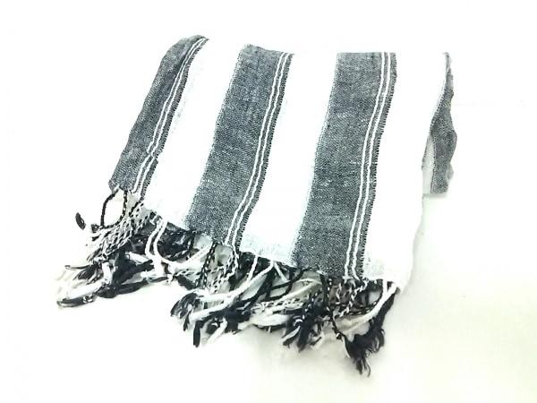 バイマレーネビルガー ストール(ショール) 黒×アイボリー ストライプ コットン×麻