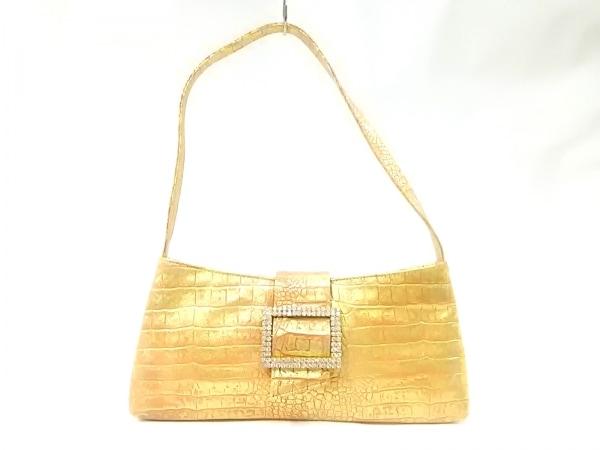 アッシュ&ダイヤモンド ショルダーバッグ オレンジ×ゴールド×クリア 型押し加工
