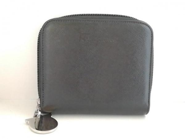 サルバトーレフェラガモ 2つ折り財布 ガンチーニ 黒 ラウンドファスナー レザー