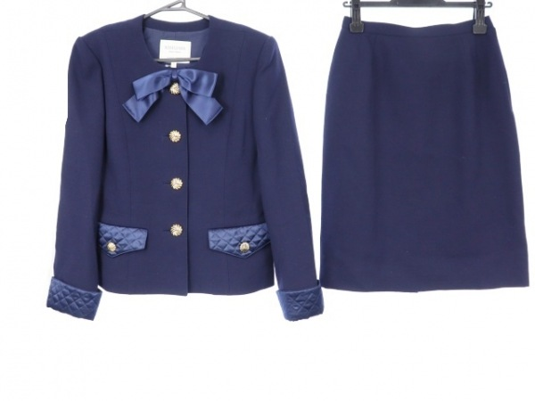 kimijima(キミジマ) スカートスーツ サイズ9 M レディース ネイビー 肩パッド/リボン