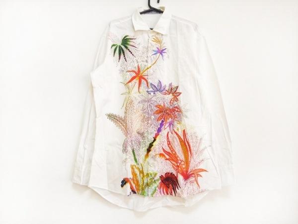 ETRO(エトロ) 長袖シャツ サイズM メンズ 白×オレンジ×マルチ