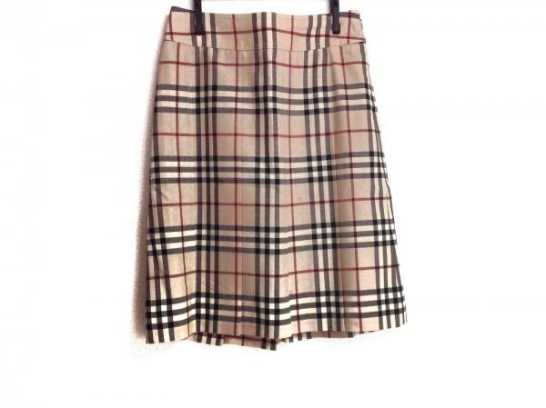 バーバリーロンドン スカート サイズ36 M レディース美品  ベージュ×レッド×黒
