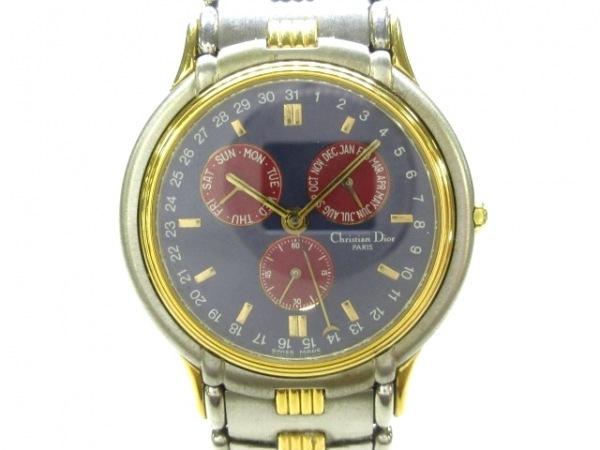 ディオール 腕時計美品  61.141 メンズ トリプルカレンダー ネイビー×レッド