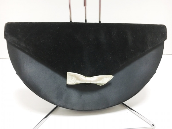ジバンシー クラッチバッグ 黒×ゴールド リボン サテン×化学繊維×合皮