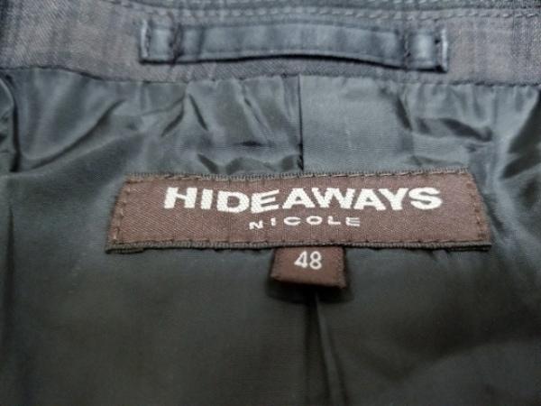 ハイダウェイニコル ジャケット サイズ48 XL メンズ ダークグレー×グレー チェック柄