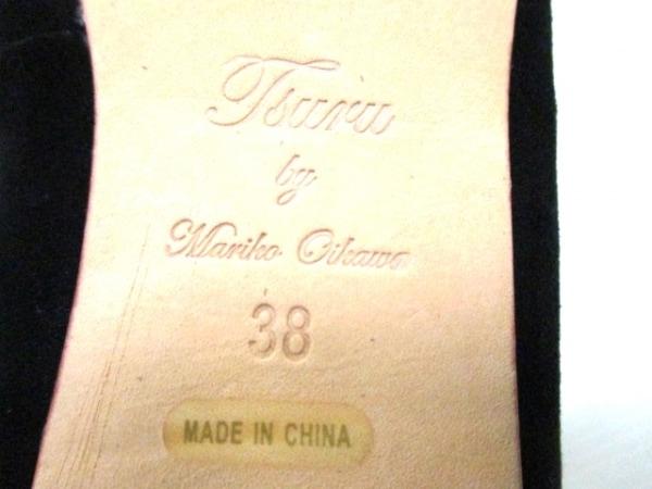 ツルバイマリコオイカワ フラットシューズ 38 レディース美品  黒 スエード