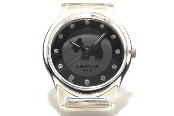 AGATHA(アガタ) 腕時計 - レディース ラバーベルト/ラインストーン シルバー