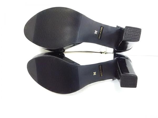 ボナジョルナータ 靴 M レディース 白×黒 リボン 合皮×エナメル(合皮)×サテン