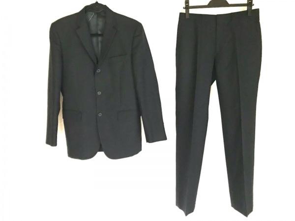 COMME CA ISM(コムサイズム) シングルスーツ サイズS メンズ 黒 肩パッド/ストライプ