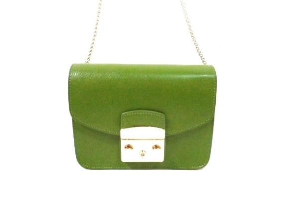 フルラ ショルダーバッグ美品  メトロポリス 834238 グリーン チェーンショルダー
