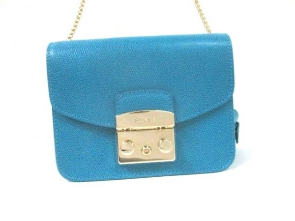 フルラ ショルダーバッグ美品  メトロポリス 820680 ブルー チェーンショルダー