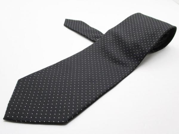 GIORGIOARMANI(ジョルジオアルマーニ) ネクタイ メンズ 黒×アイボリー ドット柄