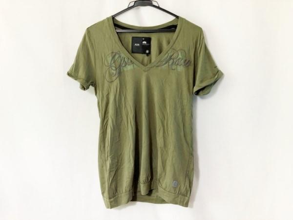 G-STAR RAW(ジースターロゥ) 半袖Tシャツ サイズM レディース カーキ×グレー