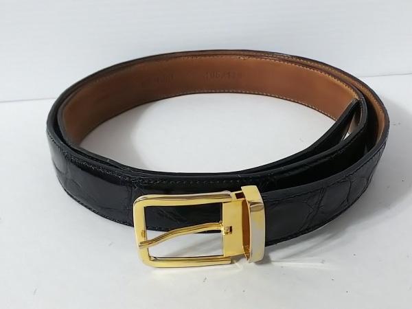 ロレンツォ バンフィ ベルト 120/105 黒×ゴールド クロコダイル×金属素材