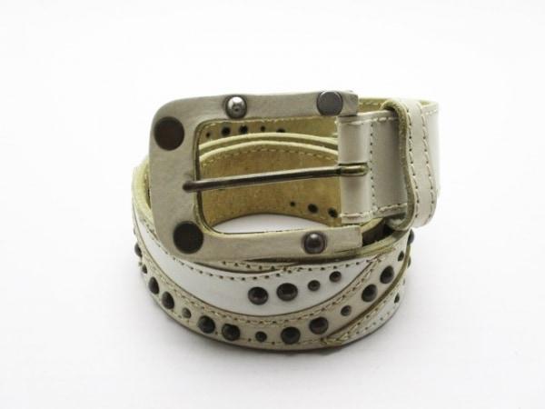 ディーゼル ベルト 90/36 アイボリー×白×ダークブラウン スタッズ レザー×金属素材