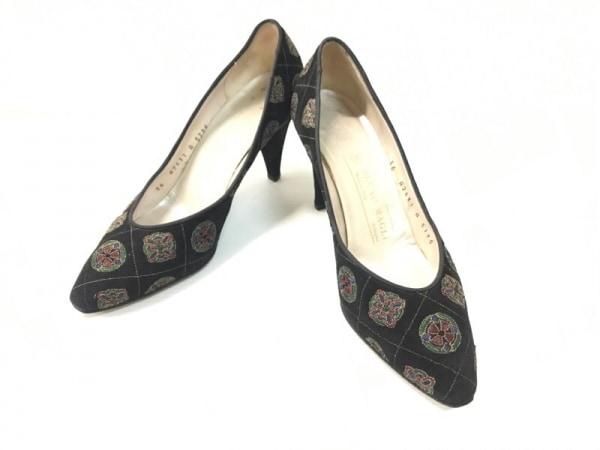 ブルーノマリ パンプス 36 レディース 黒×グリーン×マルチ 刺繍/キルティング