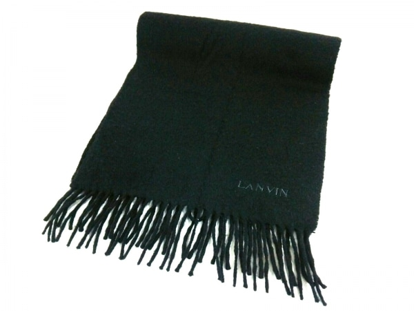 LANVIN(ランバン) マフラー 黒 カシミヤ 1