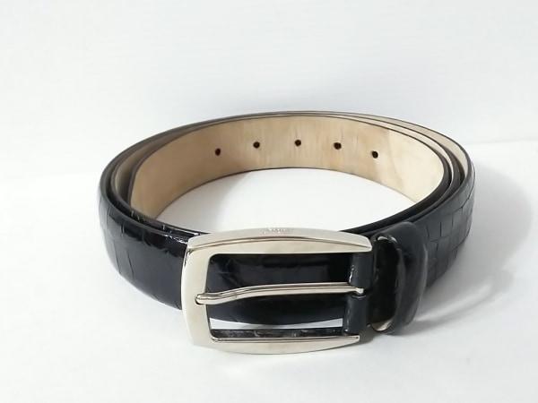 Brioni(ブリオーニ) ベルト 120/46 黒×シルバー クロコダイル×金属素材