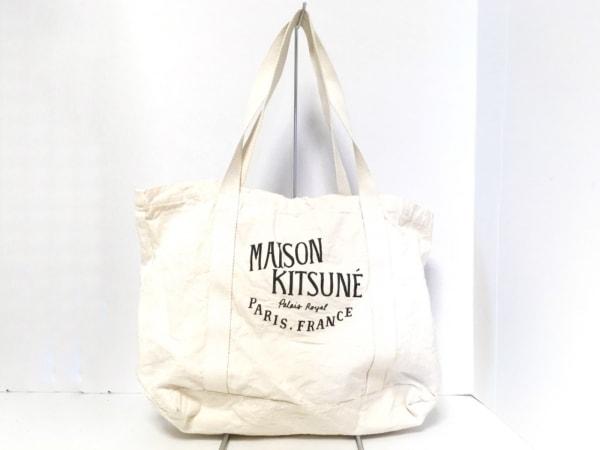 MAISON KITSUNE(メゾンキツネ) トートバッグ アイボリー×黒 キャンバス
