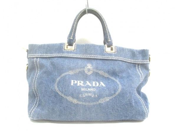 PRADA(プラダ) トートバッグ ロゴジャガード ブルー 革タグ デニム