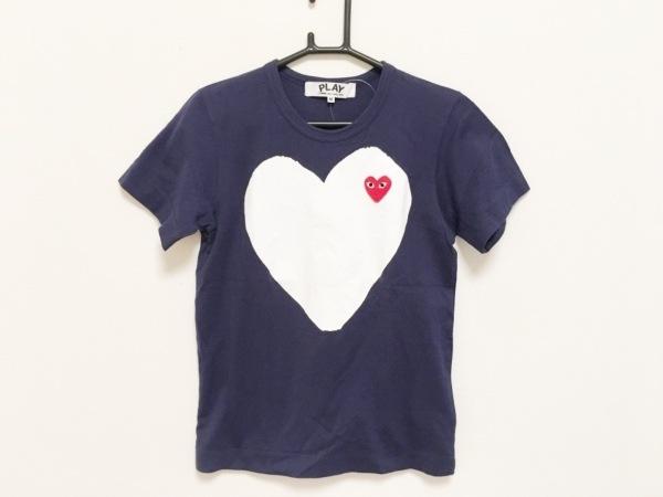 プレイコムデギャルソン 半袖Tシャツ サイズM レディース ネイビー×白×レッド