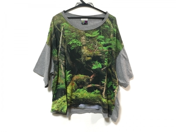 ファセッタズム 半袖Tシャツ サイズF F レディース グレー×ライトグリーン×マルチ