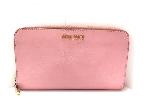miumiu(ミュウミュウ) 長財布 - ピンク ラウンドファスナー レザー