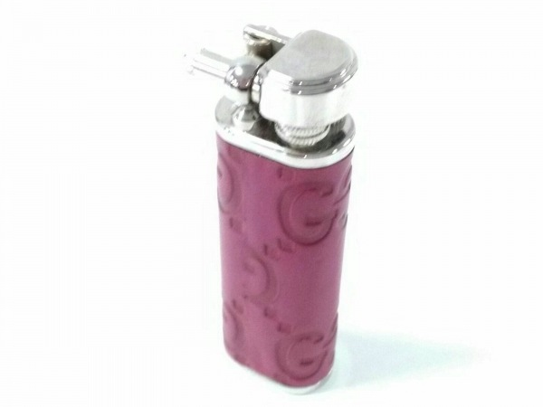 GUCCI(グッチ) ライター シマライン ピンク×シルバー 着火確認済み レザー×金属素材