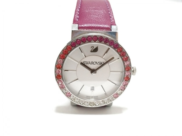 SWAROVSKI(スワロフスキー) 腕時計美品  - レディース 革ベルト シルバー