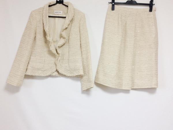 HANAE MORI(ハナエモリ) スカートスーツ レディース ベージュ スパンコール/ラメ