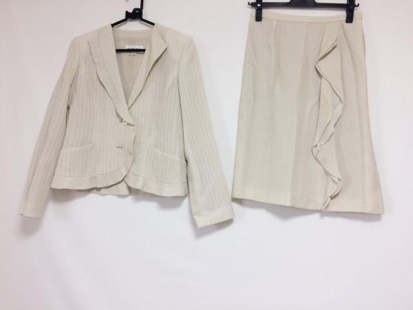 ハナエモリ スカートスーツ サイズ38 M レディース ベージュ×白 ストライプ