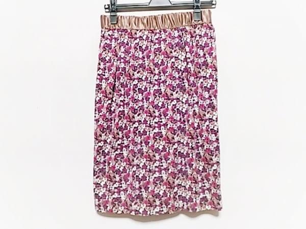 アマカ スカート サイズ38 M レディース美品  パープル×ブラウン×マルチ 花柄