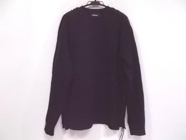 DIESEL(ディーゼル) トレーナー サイズL メンズ美品  黒 裾サイドジップアップ