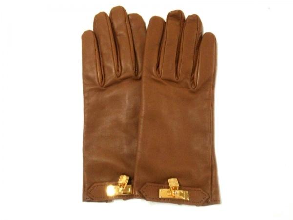 HERMES(エルメス) 手袋 7 1/2 レディース ソヤ ブラウン ラムスキン
