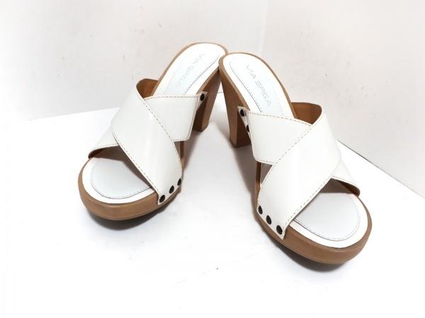 VIA SPIGA(ヴィアスピーガ) ミュール 7M レディース美品  白×ライトブラウン